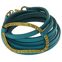 Leather wrap bracelet, 'Palau Dewata in Turquoise' - Blue Leather Wrap Bracelet Artisan Crafted Jewelry