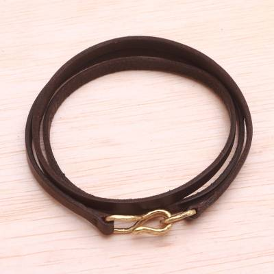 Leather wrap bracelet, 'Quartet in Brown' - Quality Leather Wrap Bracelet with Antiqued Brass Clasp
