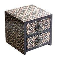 Wood batik jewelry box, 'Floral Legacy' - Wood Batik Mini Chest from Java