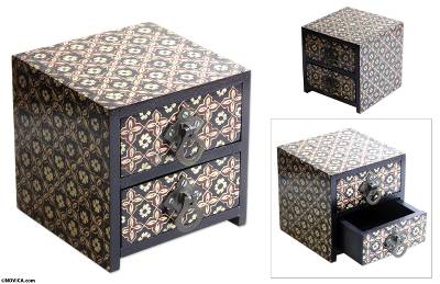 Batik wood jewelry box, Floral Legacy