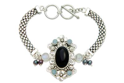 Rainbow Moonstone Pearl and Onyx Bracelet