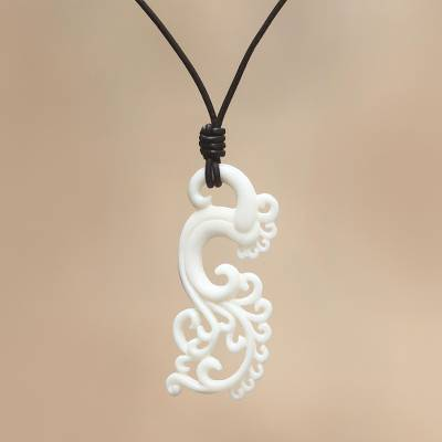 Pendant necklace, 'White Myna Bird' - Balinese Carved Pendant Necklace
