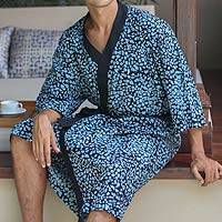 Men's cotton batik robe, 'Midnight Blues'