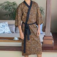 Men's cotton batik robe, 'Copper Puzzle'