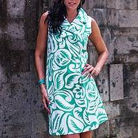 Cotton shirtdress, 'Balinese Paradise' - Silk Screen Cotton Shirtdress