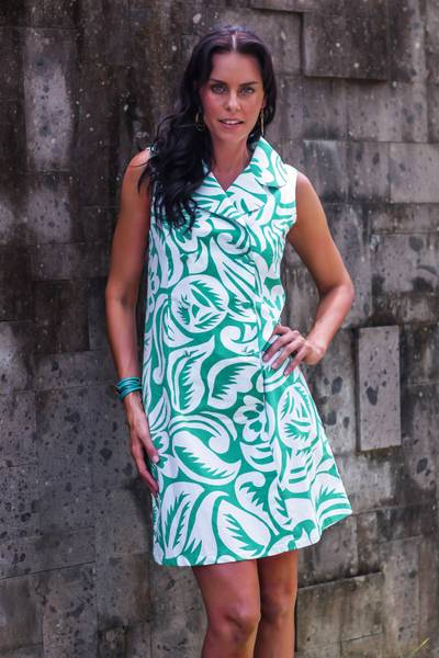 Cotton shirtdress, 'Balinese Paradise' - Retro Style Silk Screen Print Cotton Shirtdress from Bali