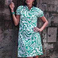 Cotton dress, 'Balinese Paradise' - Silk Screened Floral Print Feminine Cotton Dress