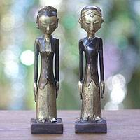 Bronze sculptures, 'Manten' (pair) - Bronze Javanese Wedding Couple Sculptures (Pair)