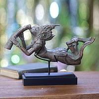 Bronze sculpture, 'Krishna's Flute of Love' - Bronze Sculpture with Stand Hinduism Art