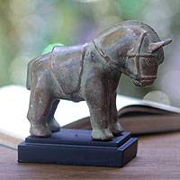 Bronze statuette, 'Java Pony' - Antiqued Bronze Horse Statuette on Wood Stand