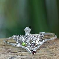 Amethyst and peridot cuff bracelet, 'Diaphanous Dragonfly' - Balinese Dragonfly Cuff Bracelet