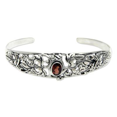 Balinese Handcrafted Garnet and Silver Cuff Bracelet