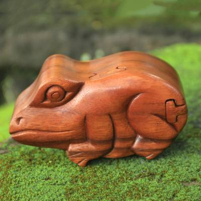 Wood puzzle box, 'Balinese Frog' - Hand Carved Balinese Wood Puzzle Box