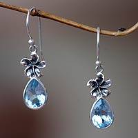 Blue topaz dangle earrings, 'Plumeria Dew' - Blue Topaz Floral Earrings