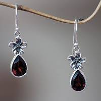 Garnet dangle earrings, 'Plumeria Dew'
