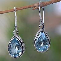 Blue topaz dangle earrings, 'Sparkling Dew' - Handcrafted Blue Topaz Silver Earrings