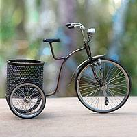 Iron sculpture, 'Colonial Basket Bicycle' - Handmade Miniature Javanese Bicycle and Basket