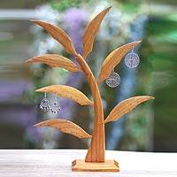 Wood earring tree, 'Heliconia Leaves' - Hand Crafted Earring Tree for 28 Pairs