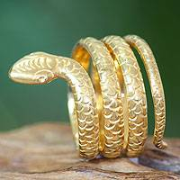 Gold plated band ring, 'Cobra Wisdom' - Gold Plated Ring Bali Artisan Jewelry