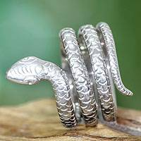 Sterling silver band ring, 'Cobra Wisdom' - Rhodium Plated Sterling Silver Ring Bali Artisan Jewelry