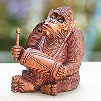 Wood statuette, 'Orangutan Plays the Kendhang' - Hand-carved Wood Sculpture from Bali