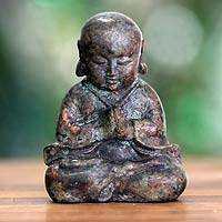 Bronze statuette, 'Praying Baby Buddha' - Aged Bronze Statuette from Java Buddhism Art