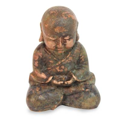 Bronze statuette, 'Baby Buddha Meditating' - Aged Bronze Statuette from Java Buddhism Art