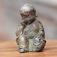Bronze statuette, 'Sleepy Baby Buddha' - Aged Bronze Statuette from Java Buddhism Art