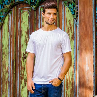 Men's cotton founder's t-shirt, 'White Kuta Breeze' - White All Cotton Jersey Founder's T-shirt for Men