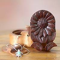 Wood puzzle box, 'Balinese Sunflower' - Hand Carved Balinese Floral Puzzle Box