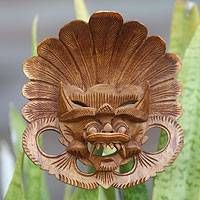Wood mask, 'Balinese Protector' - Hand Carved Bhoma Wall Mask