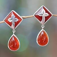 Carnelian dangle earrings, 'Sunset in Kuta' - Handcrafted Balinese Carnelian Earrings