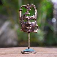 Bronze mask, 'Face of Nature II' - Antiqued Bronze Mask on Stand