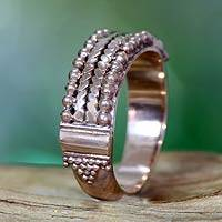 Rose gold plated band ring, 'Rose Vintage Art' - Rose Gold Plated Silver Ring Bali Artisan Jewelry