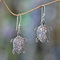 Sterling silver dangle earrings, 'Turtle of the Sea' - Handcrafted Silver Turtle Earrings