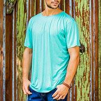 Men's cotton founder's t-shirt, 'Green Kuta Breeze' - Cotton Jersey Founder's T-shirt for Men in Green