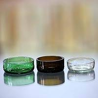 Recycled glass condiment dishes, 'Variety' (set of 3) - Bali Ecology Condiment Dishes from Recycled Glass