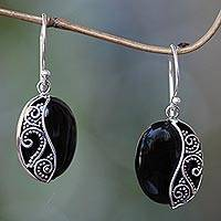 Onyx dangle earrings, 'Serene Night' - Artisan Crafted Onyx and Sterling Silver Earrings