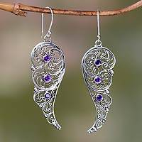 Amethyst dangle earrings, 'Fairy Wings' - Unique Amethyst and Sterling Silver Earrings