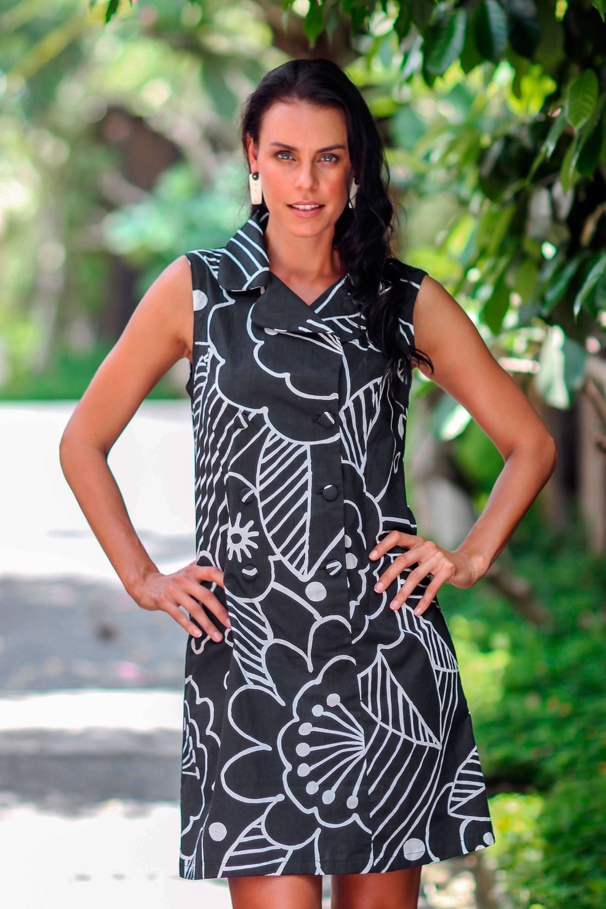 Balinese Black and White Short Cotton Print Wrap Shirtdress, 'Kuta Retro' - great for summer days at the office! NOVICA Fair Trade Black White Collar