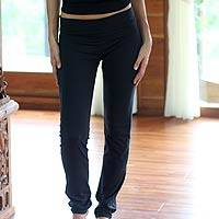 Cotton yoga full length pants, 'Kintamani in Black' - Black Cotton Yoga Full Length Exercise Pants from Bali