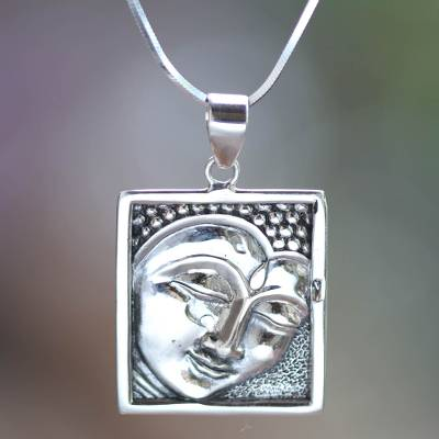 Sterling silver pendant necklace, 'Shining Buddha' - Sterling Silver Buddha Necklace