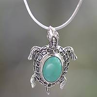 Sterling silver pendant necklace, 'Ocean Turtle' - Handcrafted Silver Turtle Necklace