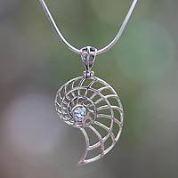 Blue topaz pendant necklace, 'Nautilus' - Handcrafted Blue Topaz Nautilus Necklace