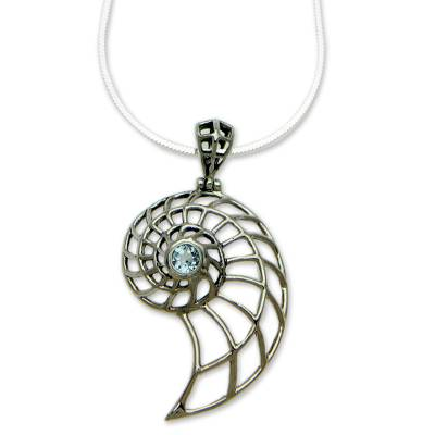 Handcrafted Blue Topaz Nautilus Necklace