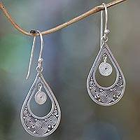 Sterling silver dangle earrings, 'Whirlpool' - Hand Crafted Sterling Silver Dangle Earrings from Bali