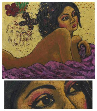 'Woman and Butterfly' (2011) - Javanese Fine Art Nude Painting