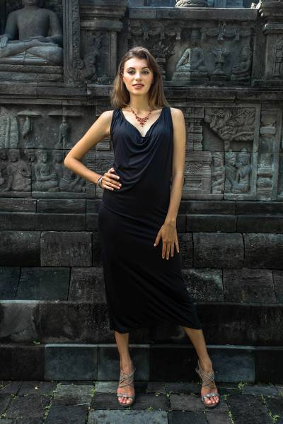 Maxi dress, 'Kuta Ebony' - Balinese Black Maxi Dress
