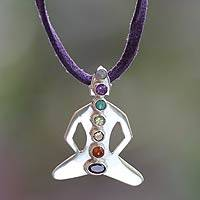 Peridot and moonstone pendant necklace, 'Chakra Meditation' - Silver and Gemstone Chakra Necklace
