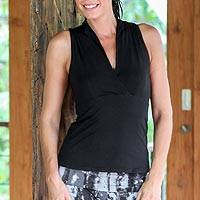 Cotton blend sleeveless top, 'Jakarta Black' - V-neck Cotton Blend Collared Sleeveless Top